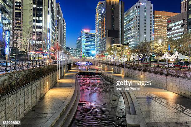Cheonggyecheon Stream and modern office buildings in Seoul, South Korea