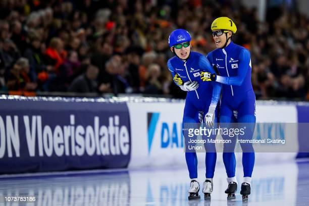 Cheonho Um and Jaewon Chung of Korea celebrate in the Men's Mass Start during ISU World Cup Speed Skating Heerenveen at Thialf on December 15 2018 in...