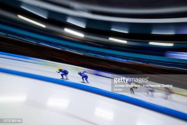 Cheonho Um of Korea competes in the Men's Mass Start during ISU World Cup Speed Skating Heerenveen at Thialf on December 15 2018 in Heerenveen...