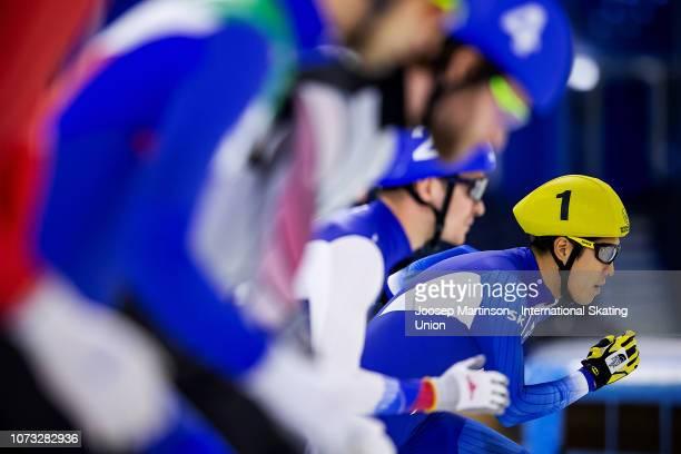 Cheonho Um of Korea starts in the Men's Mass Start semifinal at Thialf on December 14 2018 in Heerenveen Netherlands Photo by Joosep Martinson...