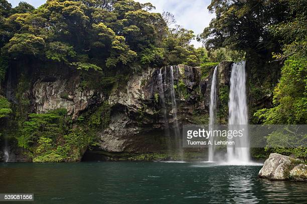 cheonjiyeon waterfall on jeju island in south korea. - jeju stock photos and pictures