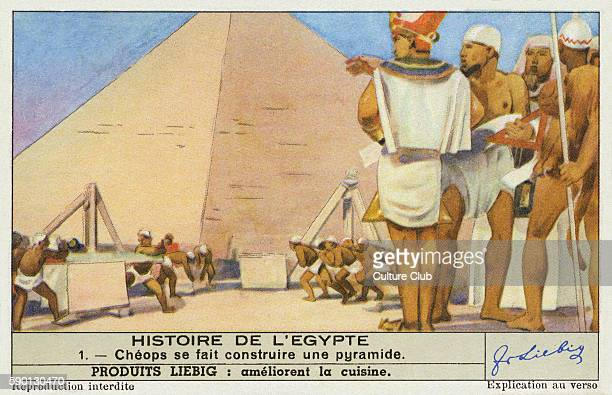 Cheops / Kheops/ king Khufu constructs a pyramid 4th dynasty Egyptian Pharoah