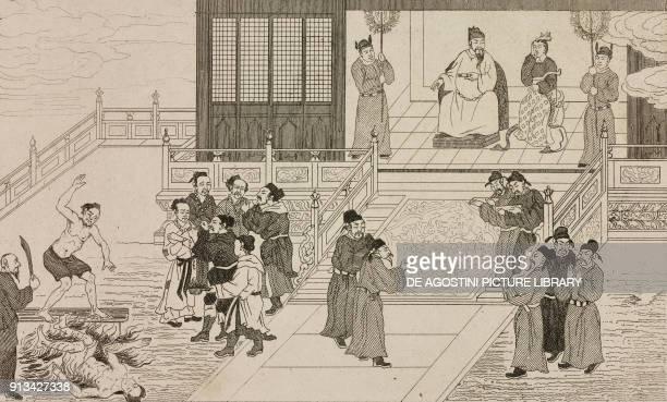 Cheou-Sin and Ta-Ki undergoing a new torment, China, engraving from Chine, ou, Description historique, geographique et litteraire de ce vaste empire,...