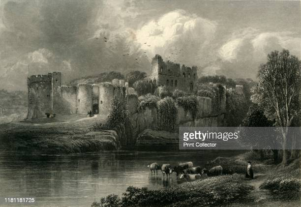 Chepstow Castle' circa 1870 PostRoman stone fortification on the River Wye construction began in 1067 under the Norman Lord William FitzOsbern by the...