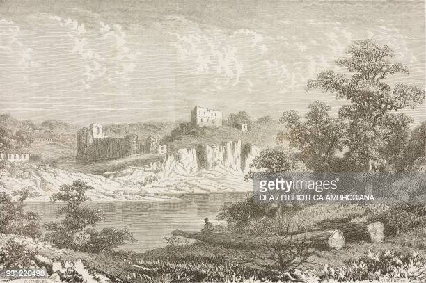 Chepstow castle Wales drawing by Pierre Eugene Grandsire from a sketch by Erny from Travels in Wales by Alfred Erny United Kingdom from Il Giro del...