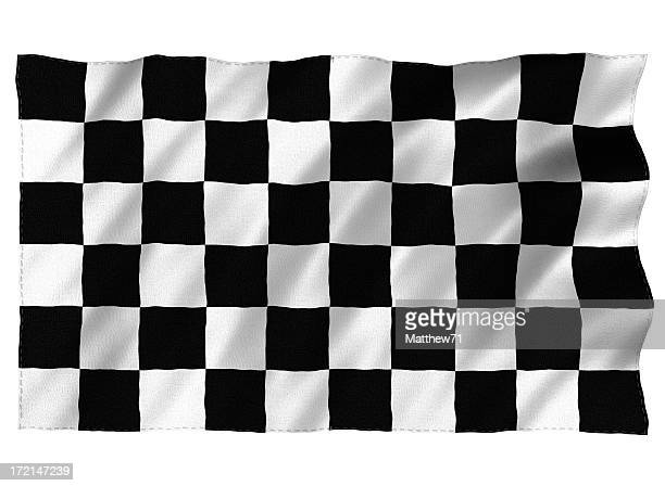 3D Chequered flag on white