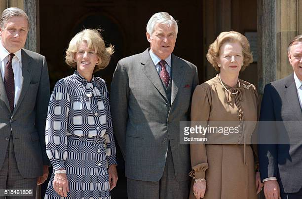 7/7/1984 Chequers England Canadian Prime Minister John Turner with British Prime Minister Margaret Thatcher on the front steps of Mrs Thatcher's...