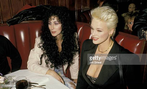 Cher and Brigitte Nielsen during 15th Annual American Music Awards After Party at Chasen's Restaurant in Beverly Hills California United States