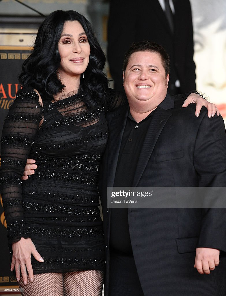 Cher and Chaz Bono attend Cher's hand and footprint ceremony at Grauman's Chinese Theatre on November 18, 2010 in Hollywood, California.