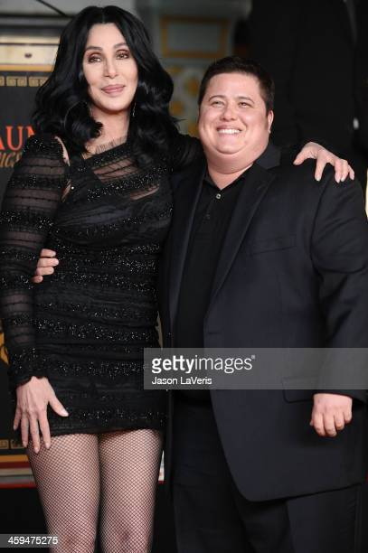 Cher and Chaz Bono attend Cher's hand and footprint ceremony at Grauman's Chinese Theatre on November 18 2010 in Hollywood California