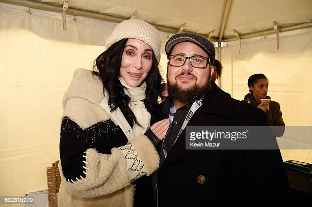Cher and Chaz Bono attend the rally at the Women's March on Washington on January 21 2017 in Washington DC