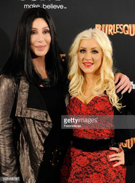 Cher and Christina Aguilera attend 'Burlesque' photocall at the Villamagna Hotel on December 9, 2010 in Madrid, Spain.