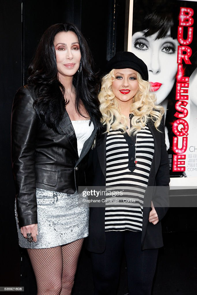 Cher and Christina Aguilera attend the 'Burlesque' Photocall at 'Le Crazy Horse', in Paris.