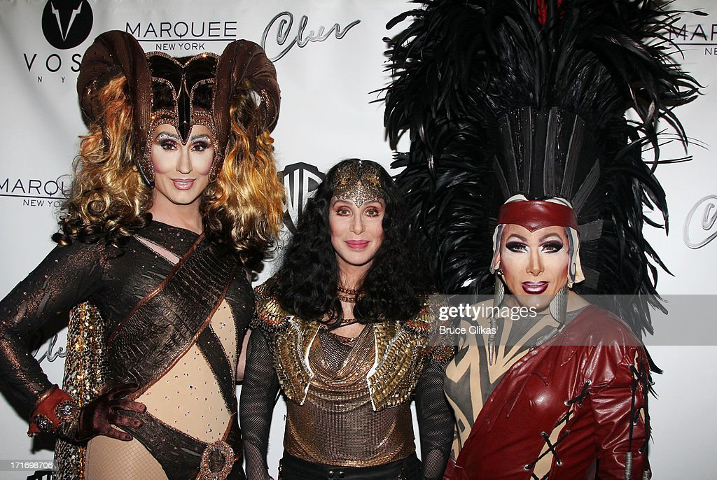 Cher (C) and friends kick off 2013 Gay Pride NYC at 'Q Thursdays' at Marquee on June 27, 2013 in New York City.