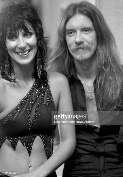 Cher and her guitarist boyfriend Les Dudek from her new rock group Black Rose backstage before mading their local debut at Garden State Arts Center...