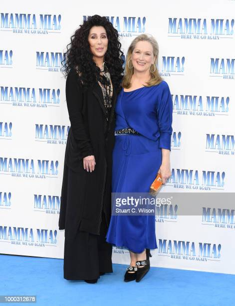Cher and Meryl Streep attend the Mamma Mia Here We Go Again world premiere at the Eventim Apollo Hammersmith on July 16 2018 in London England