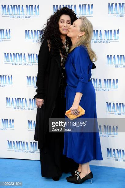 Cher and Meryl Streep attend the UK Premiere of 'Mamma Mia Here We Go Again' at Eventim Apollo on July 16 2018 in London England