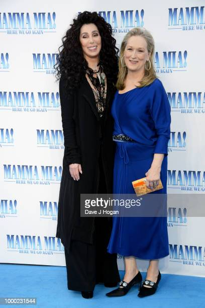 Cher and Meryl Streep attend the UK Premiere of Mamma Mia Here We Go Again at Eventim Apollo on July 16 2018 in London England