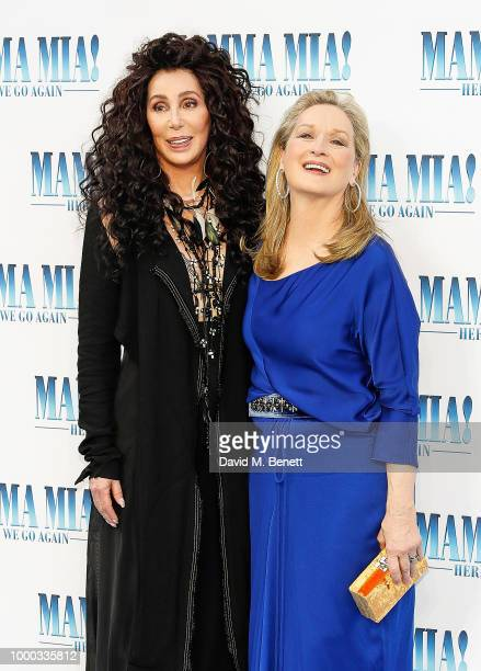 Cher and Meryl Streep attend the UK Premiere of Mamma Mia Here We Go Again at the Eventim Apollo on July 16 2018 in London England