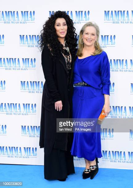 Cher and Meryl Streep attending the premiere of Mamma Mia Here We Go Again held at the Eventim Hammersmith Apollo London