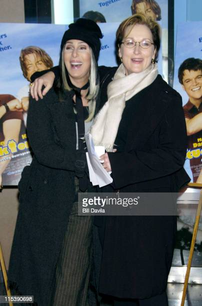 Cher and Meryl Streep during Stuck on You New York Premiere at The Clearview Chelsea West Theater in New York City New York United States