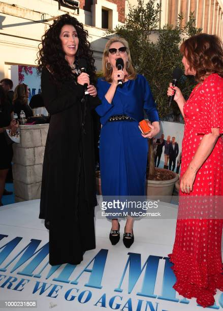 Cher and Meryl Streep speak with Lorraine Kelly as they attend the Mamma Mia Here We Go Again world premiere at the Eventim Apollo Hammersmith on...