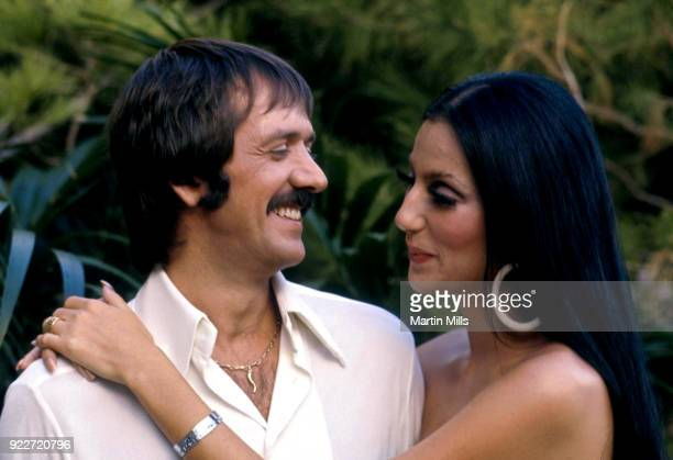 Cher and Sonny Bono pose for a promotional photo for 'The Sonny and Cher Show' in 1970