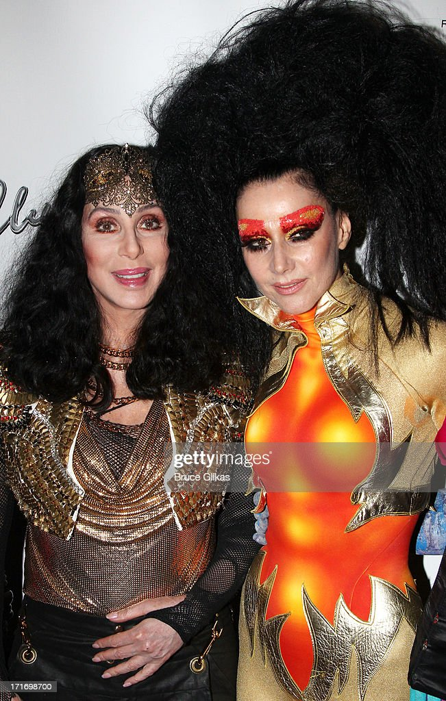 Cher (L) and Susanne Bartsch kick off 2013 Gay Pride NYC at 'Q Thursdays' at Marquee on June 27, 2013 in New York City.