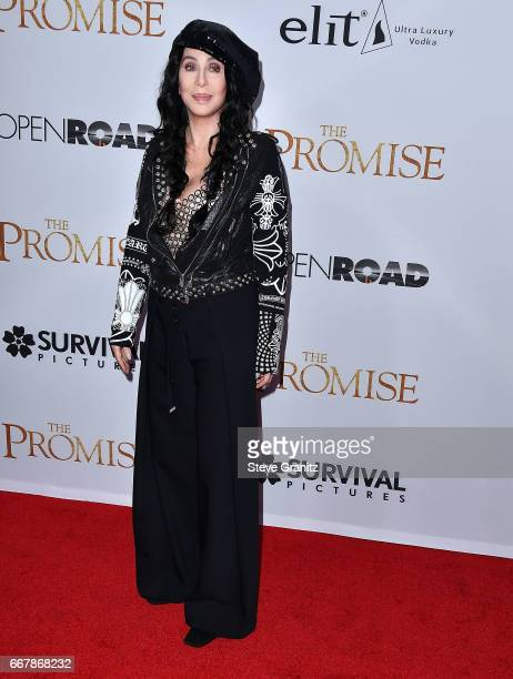 "Cher arrives at the Premiere Of Open Road Films' ""The Promise"" at TCL Chinese Theatre on April 12, 2017 in Hollywood, California."