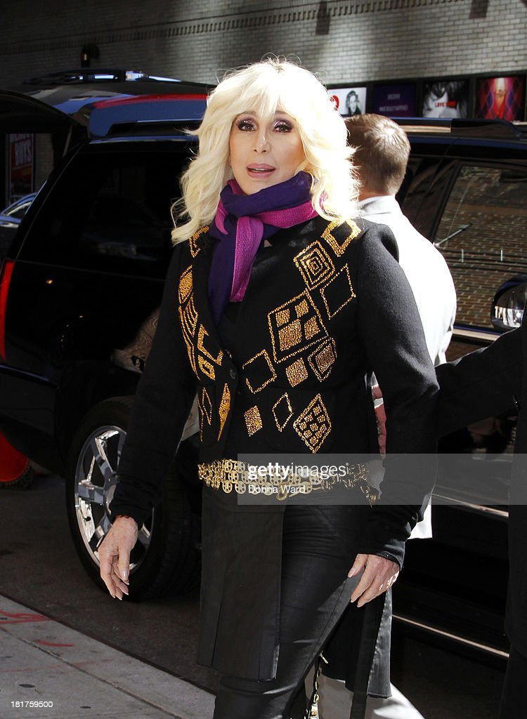 Cher arrives for the 'Late Show with David Letterman' at Ed Sullivan Theater on September 24, 2013 in New York City.