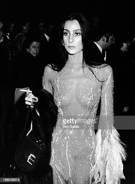Cher attends Metropolitan Museum of Art Costume Institute Exhibition Romantic and Glamorous Hollywood Design on November 20 1974 at the Metropolitan...