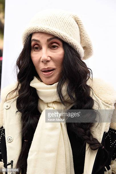 Cher attends the rally at the Women's March on Washington on January 21 2017 in Washington DC