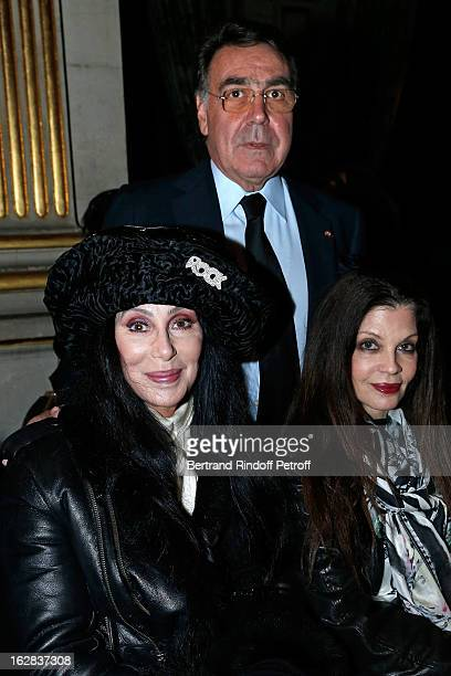 Cher Balmain CEO Alain Hivelin and guest attend the Balmain Fall/Winter 2013 ReadytoWear show as part of Paris Fashion Week on February 28 2013 in...