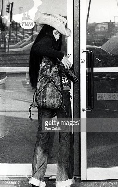 Cher during Cher Sighting at JFK Airport After Leaving Avedon's Studio for Vogue Layout October 31 1974 at JFK Airport in New York City New York...