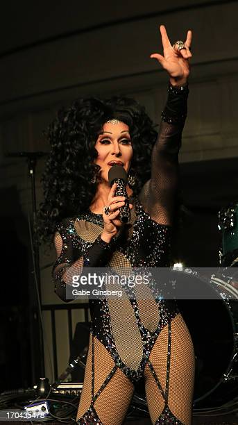 Cher impersonator Stephen Wayne from the show 'Divas' performs at the closing night party for the US Travel Association's International Pow Wow at...