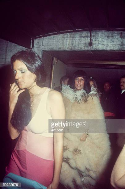 Cher in a feather coat with her sister Georganna LaPiere circa 1970 New York