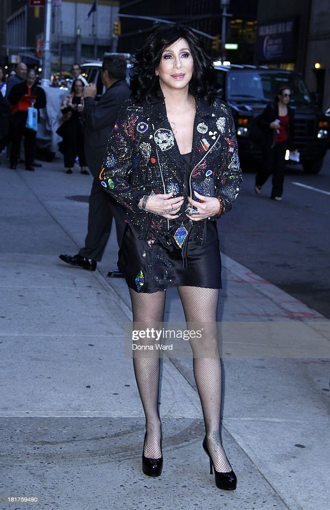 Cher leaves the 'Late Show with David Letterman' at Ed Sullivan Theater on September 24, 2013 in New York City.