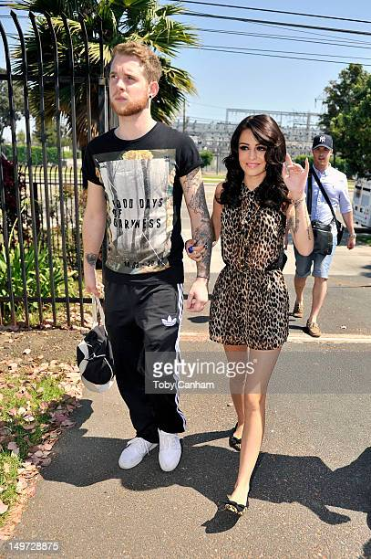 Cher Lloyd and fiance Craig Monk arrive at 971 AMP Radio on August 2 2012 in Los Angeles California