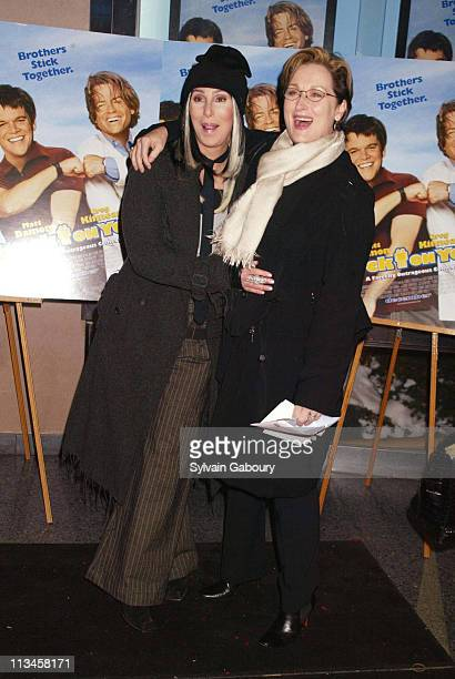 Cher Meryl Streep during Twentieth Century Fox premiere Stuck on You at Clearview Chelsea West in New York New York United States