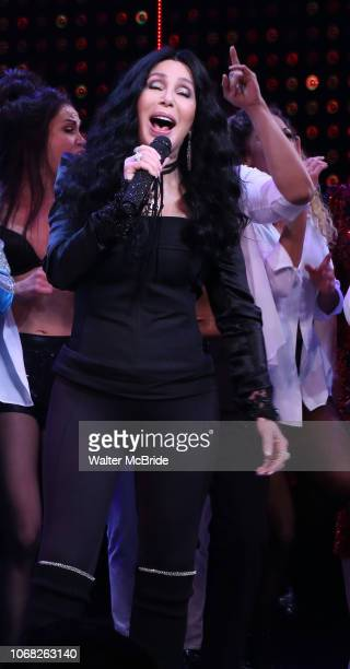 Cher performing with the cast during the Broadway Opening Night Curtain Call of 'The Cher Show' at Neil Simon Theatre on December 3 2018 in New York...