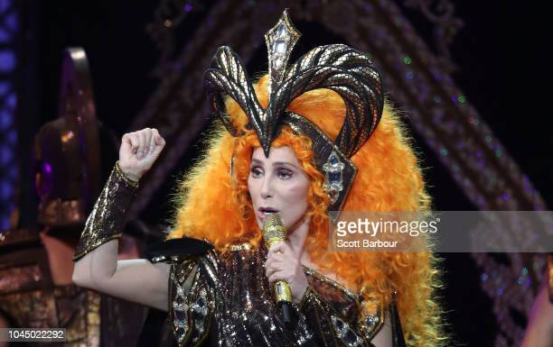 Cher performs during her Here We Go Again Tour at Rod Laver Arena on October 3 2018 in Melbourne Australia