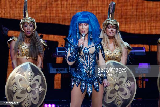 Cher performs on stage at The O2 Arena on October 21 2019 in London England