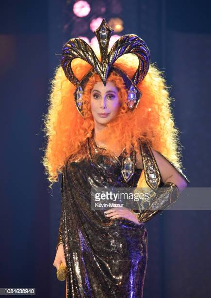 Cher performs on stage during the opening night of her Here We Go Again tour her first US tour in five years at The Hertz Arena on January 17 2019 in...