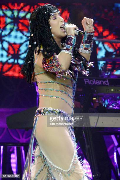 "Cher performs part of her ""D2K Tour"" at SAP Center on July 2, 2014 in San Jose, California."
