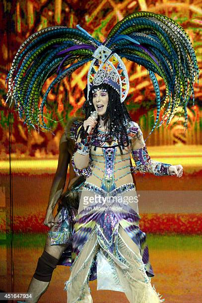 Cher performs part of her 'D2K Tour' at SAP Center on July 2 2014 in San Jose California