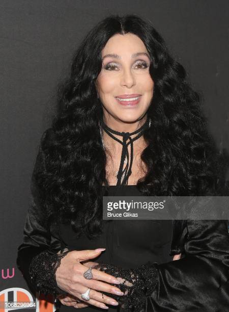 """Cher poses at the opening night of the new musical """"The Cher Show"""" on Broadway at The Neil Simon Theatre on December 3, 2018 in New York City."""