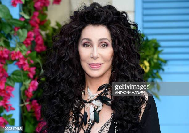 Cher poses on the red carpet upon arrival for the world premiere of the film Mamma Mia Here We Go Again in London on July 16 2018