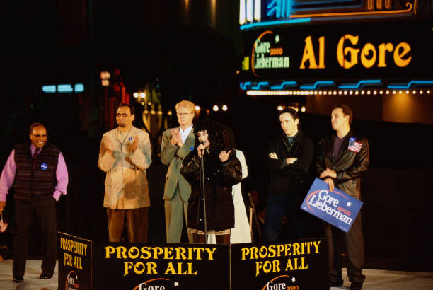 Cher Speaking at Gore Presidential Rally with Celebrities