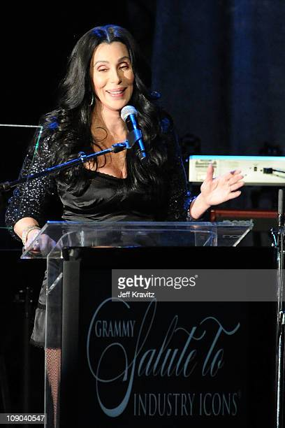 Cher speaks onstage during the 2011 PreGRAMMY Gala and Salute To Industry Icons Honoring David Geffen at Beverly Hilton on February 12 2011 in...