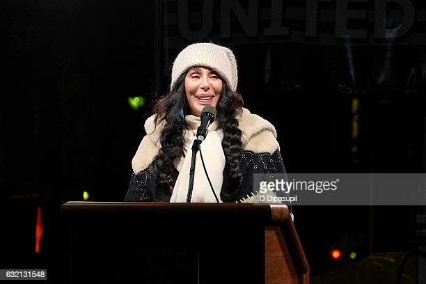 Cher speaks onstage during the We Stand United NYC Rally outside Trump International Hotel Tower on January 19 2017 in New York City